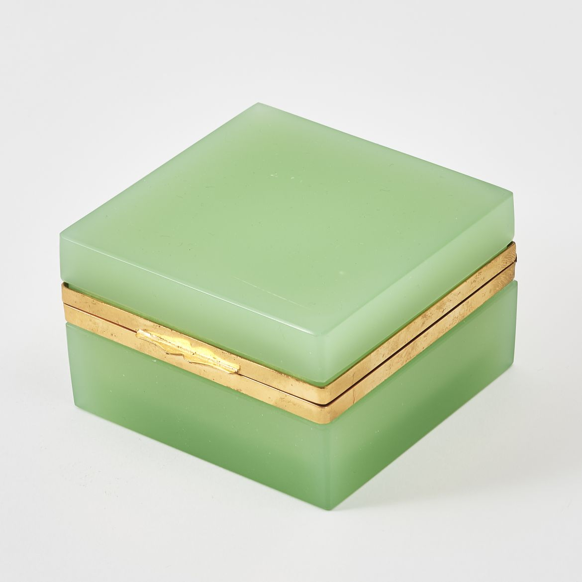 Opaque Green Murano Glass Box