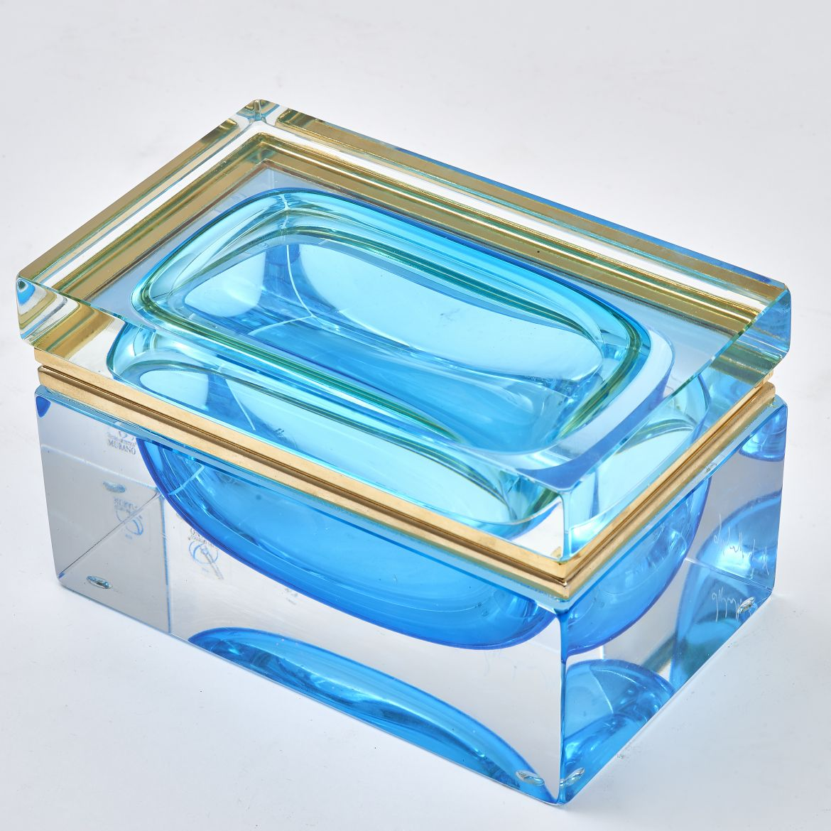 Murano Casket With Blue Glass