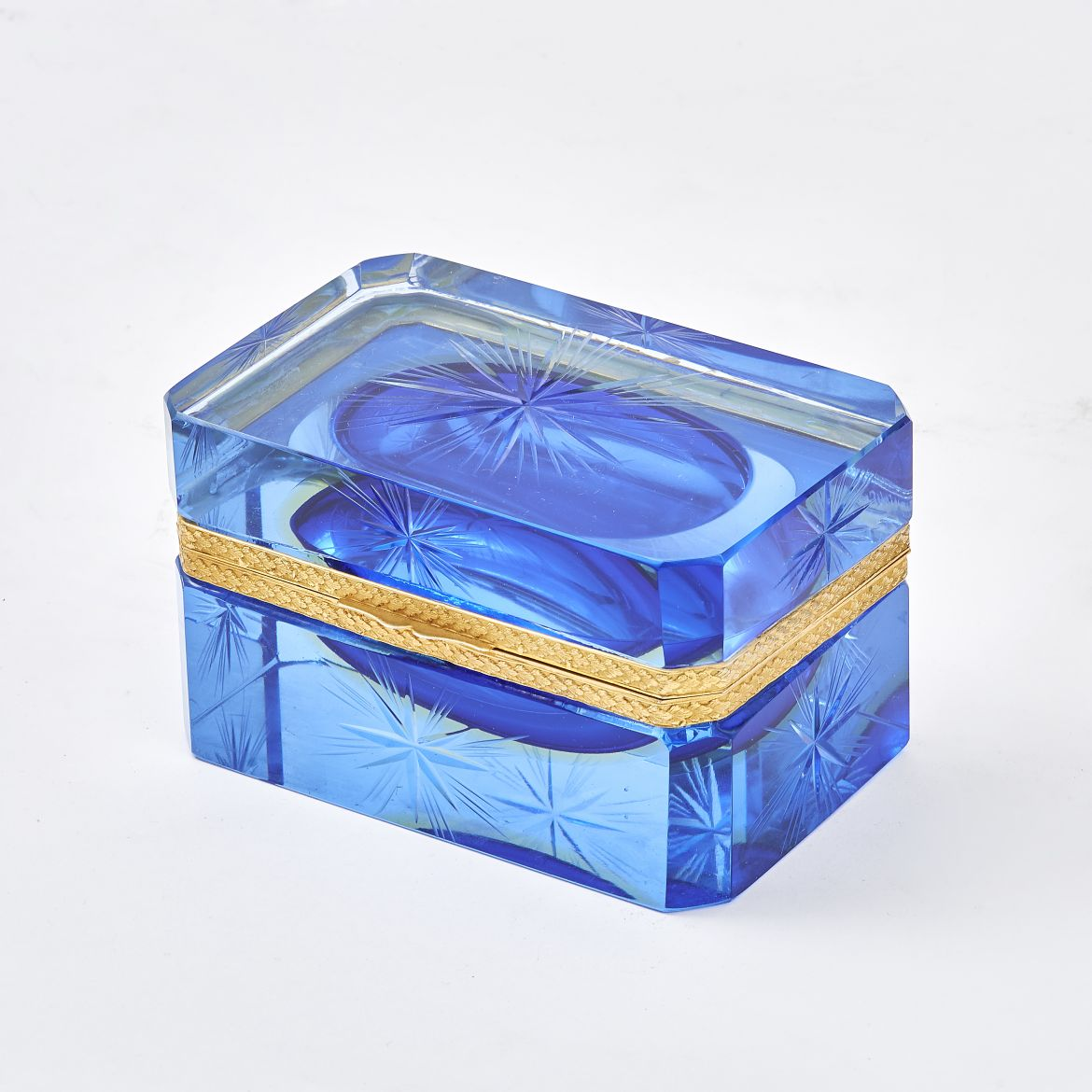 Blue Glass Casket With Star Cut Design