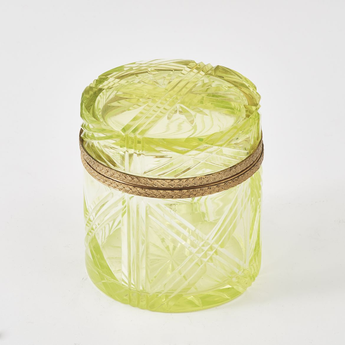 French Circular Uranium Glass Box