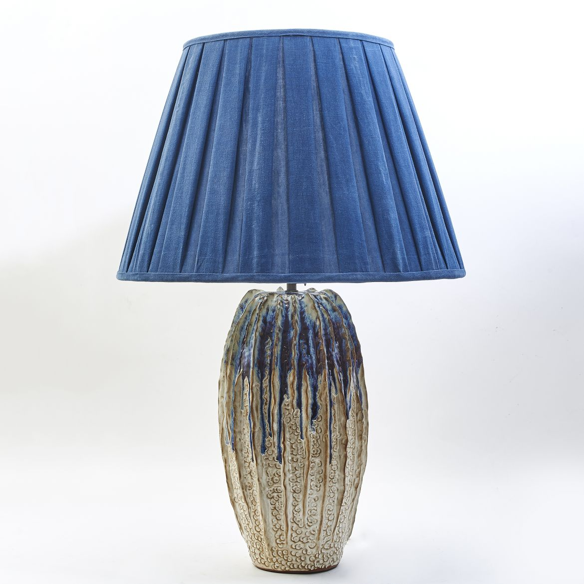 Thai Ribbed Pottery Lamp