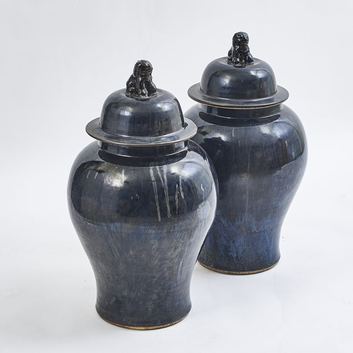 Pair Black Glaze Jars