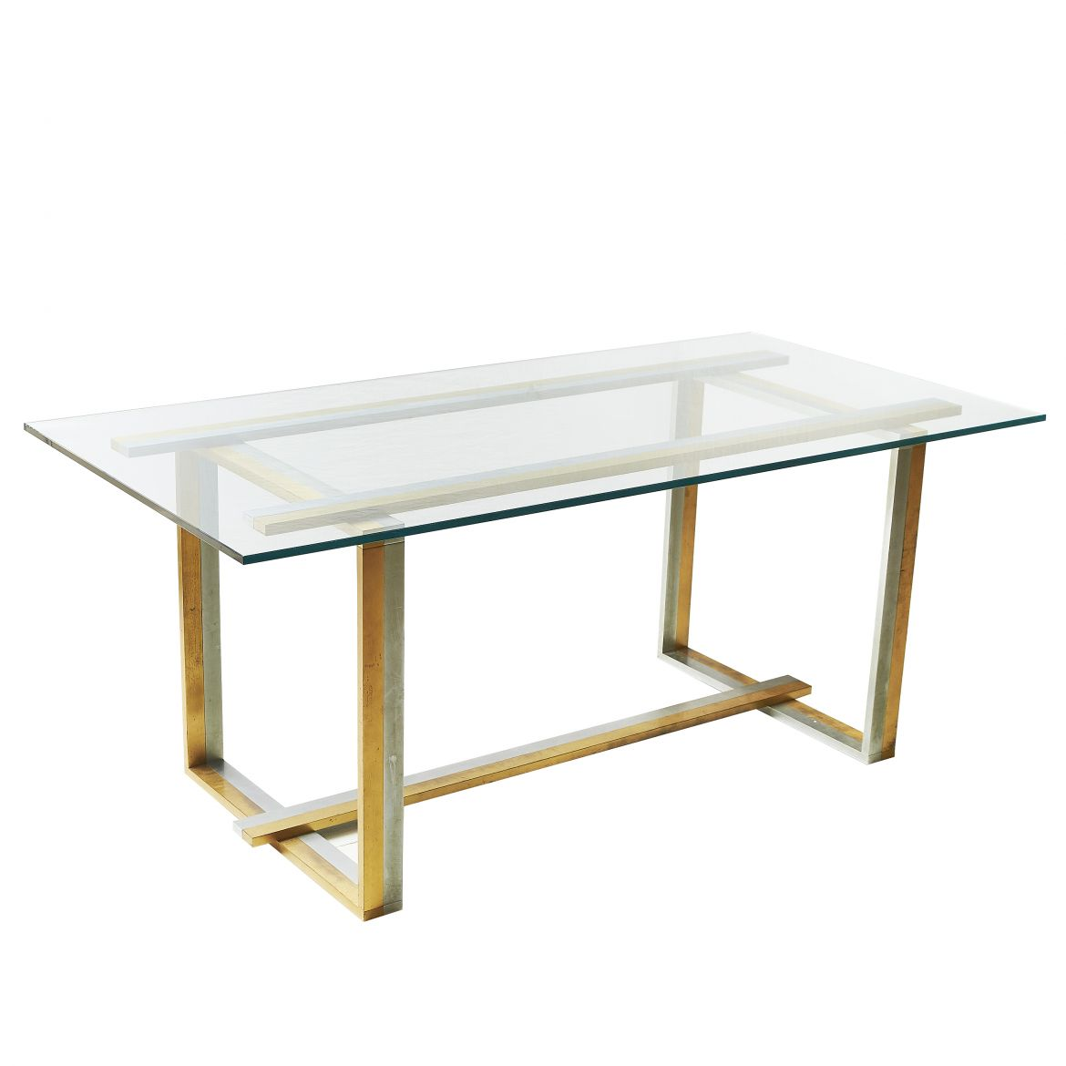 Chrome & Brass Dining Table