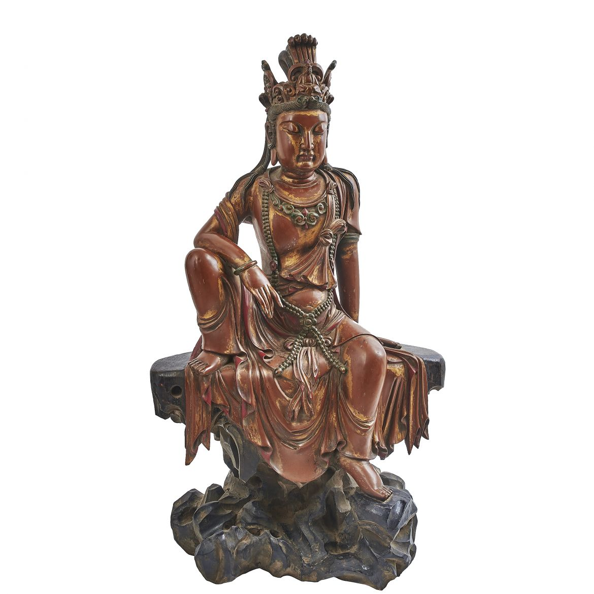 Chinese Gold Lacquered carved Guanyin