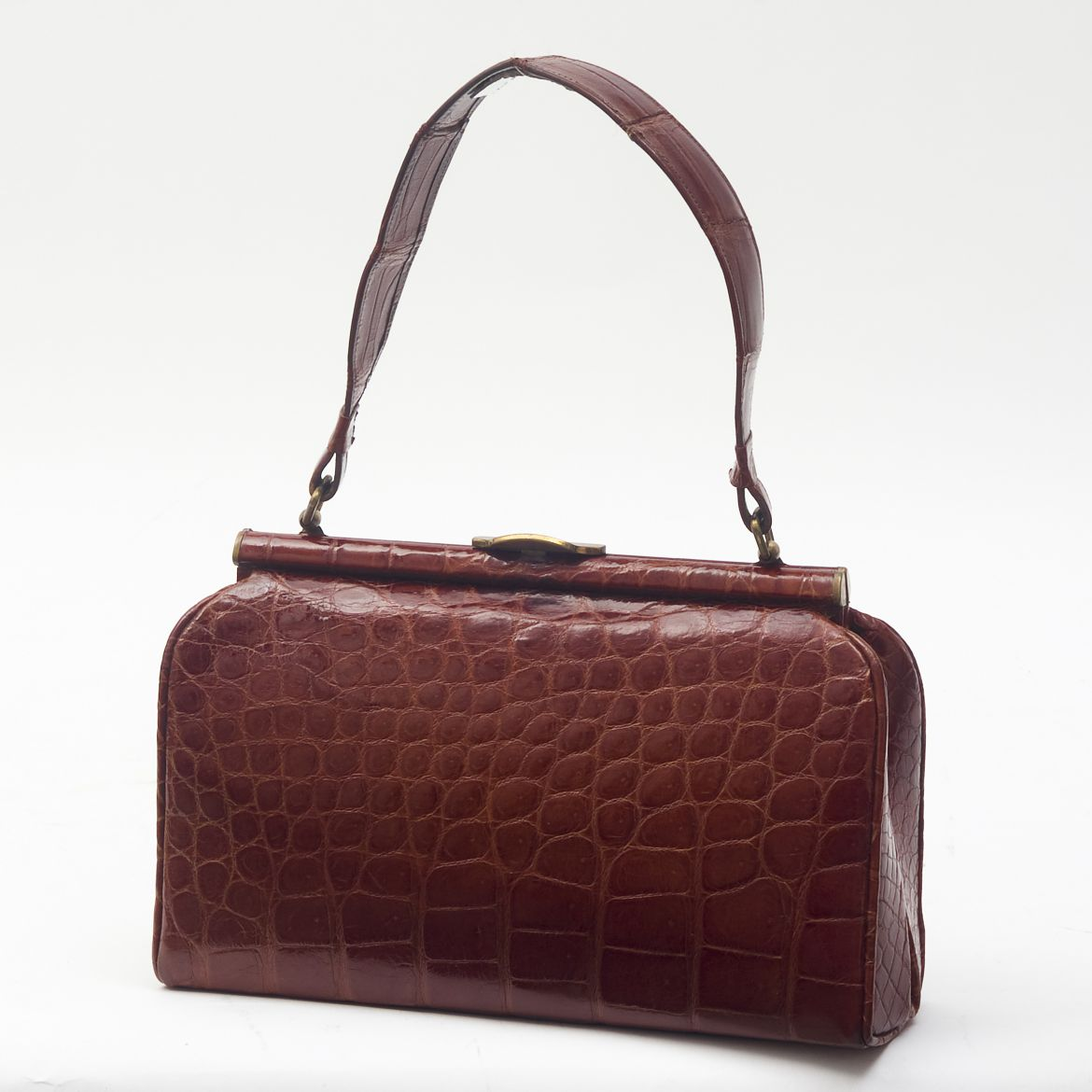 50s Tan Crocodile Handbag