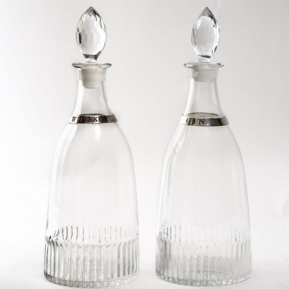 Pair French Tapering Decanters