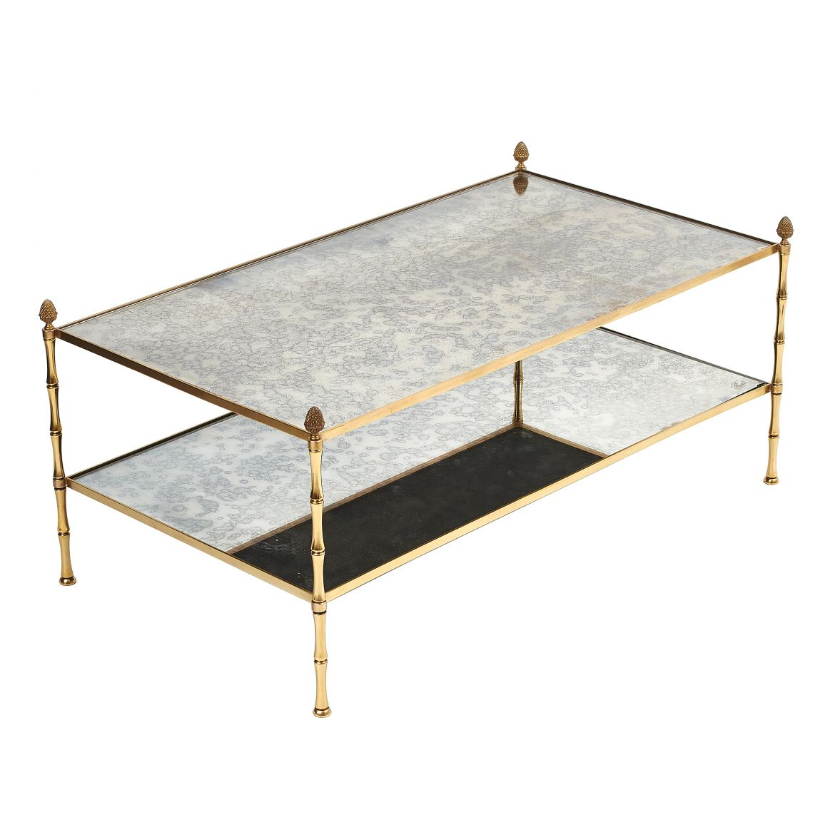 Brass & Mirrored Glass Coffee Table
