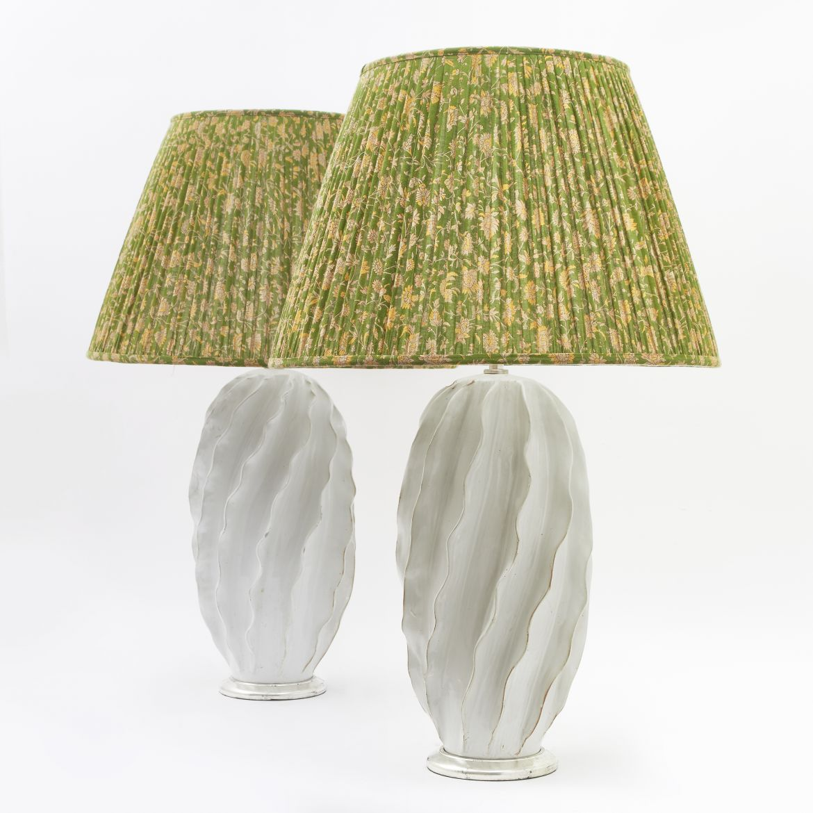 Pair Ribbed White Lamps