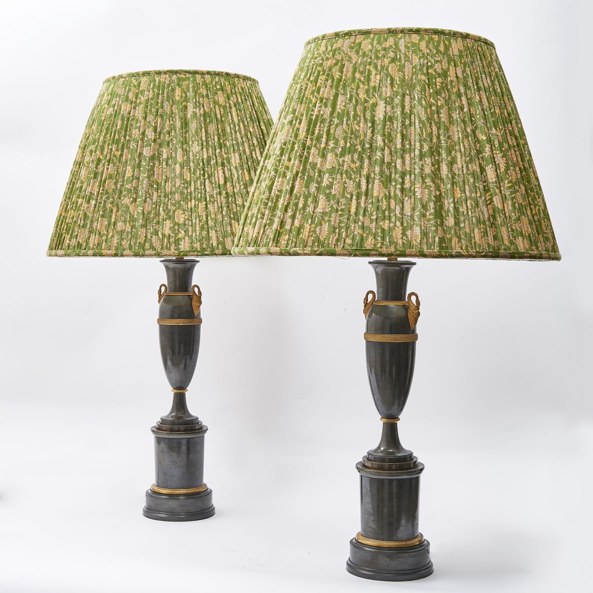 Pair Lamps With Swan Mounts
