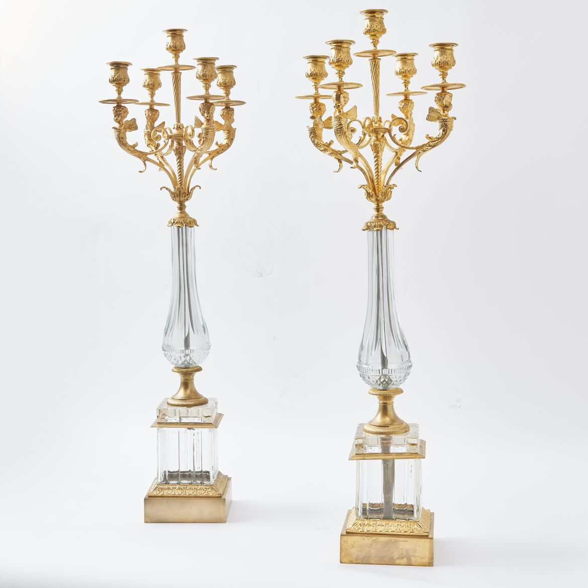 Russian Cut Crystal & Bronze Candelabra