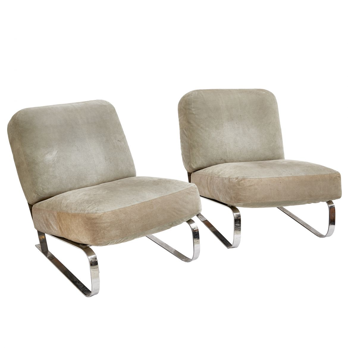 Pair Chrome Lounge Chairs