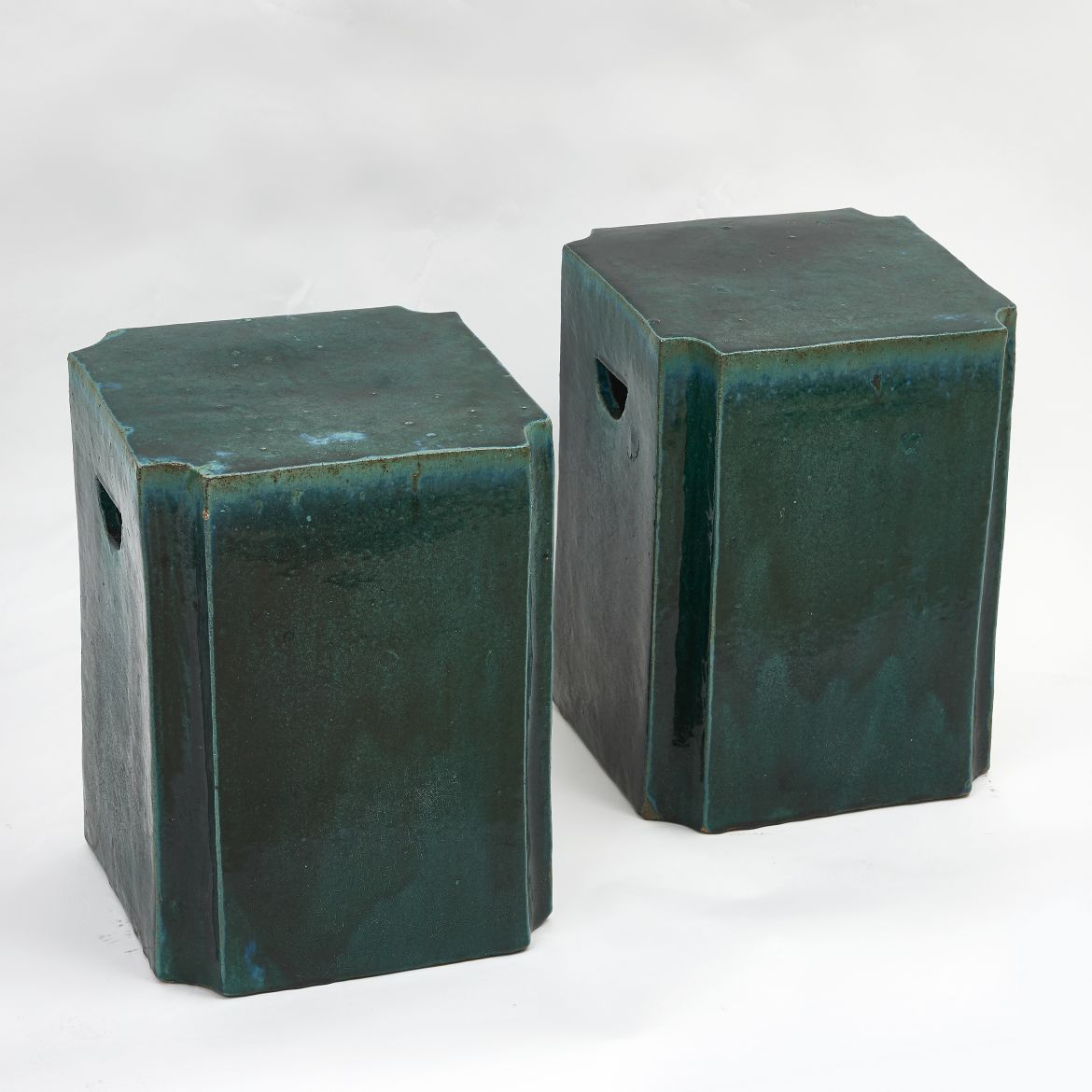 Chinese Green Canted Corner Stools