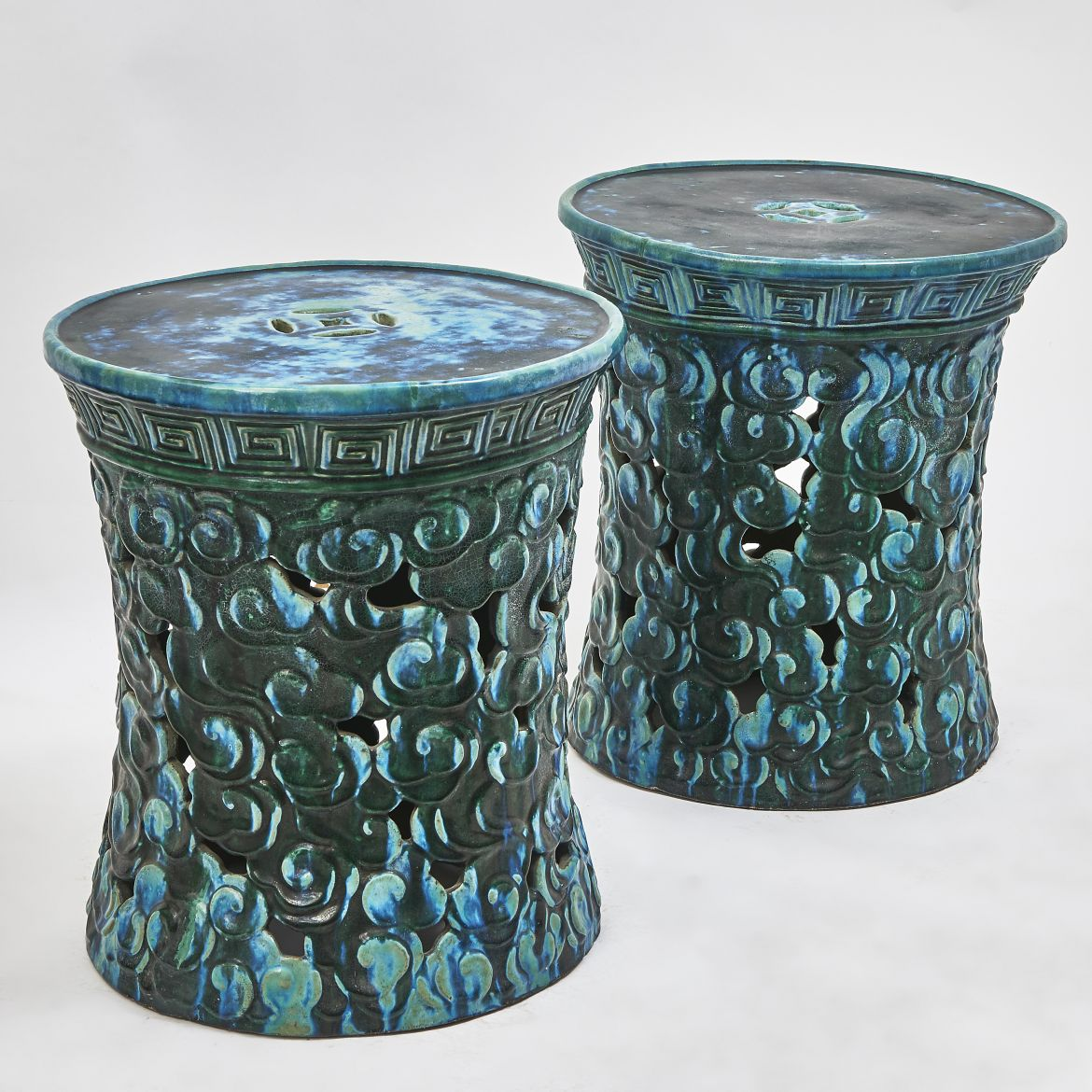 Pair Green Stoneware Tables