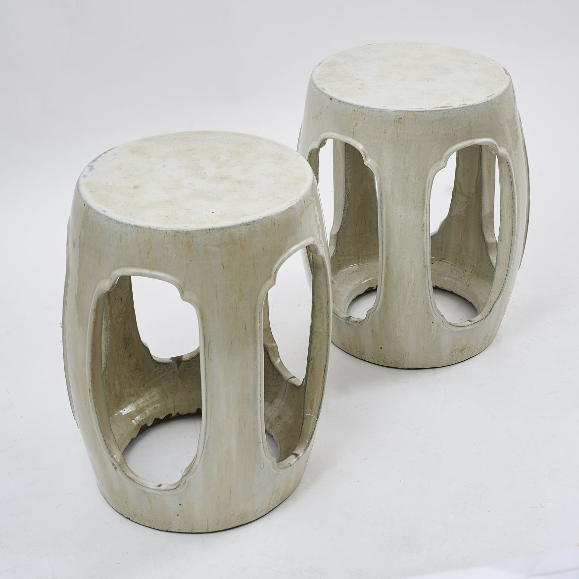 Chinese Stools With Oval Cut-outs