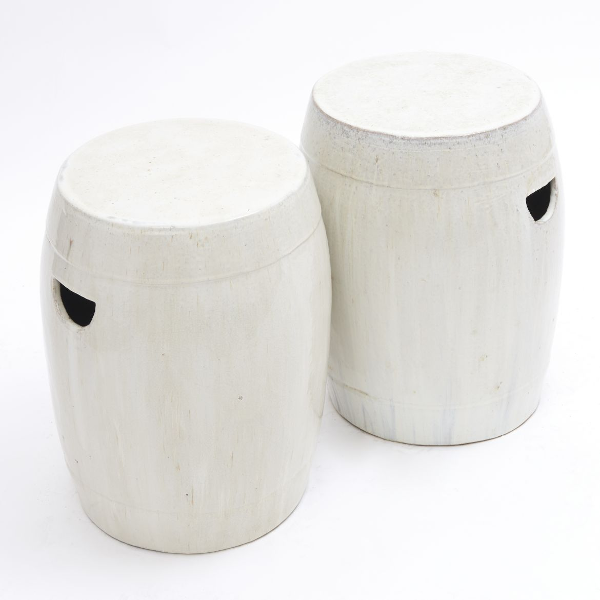 Chinese White Glaze Barrel Stools