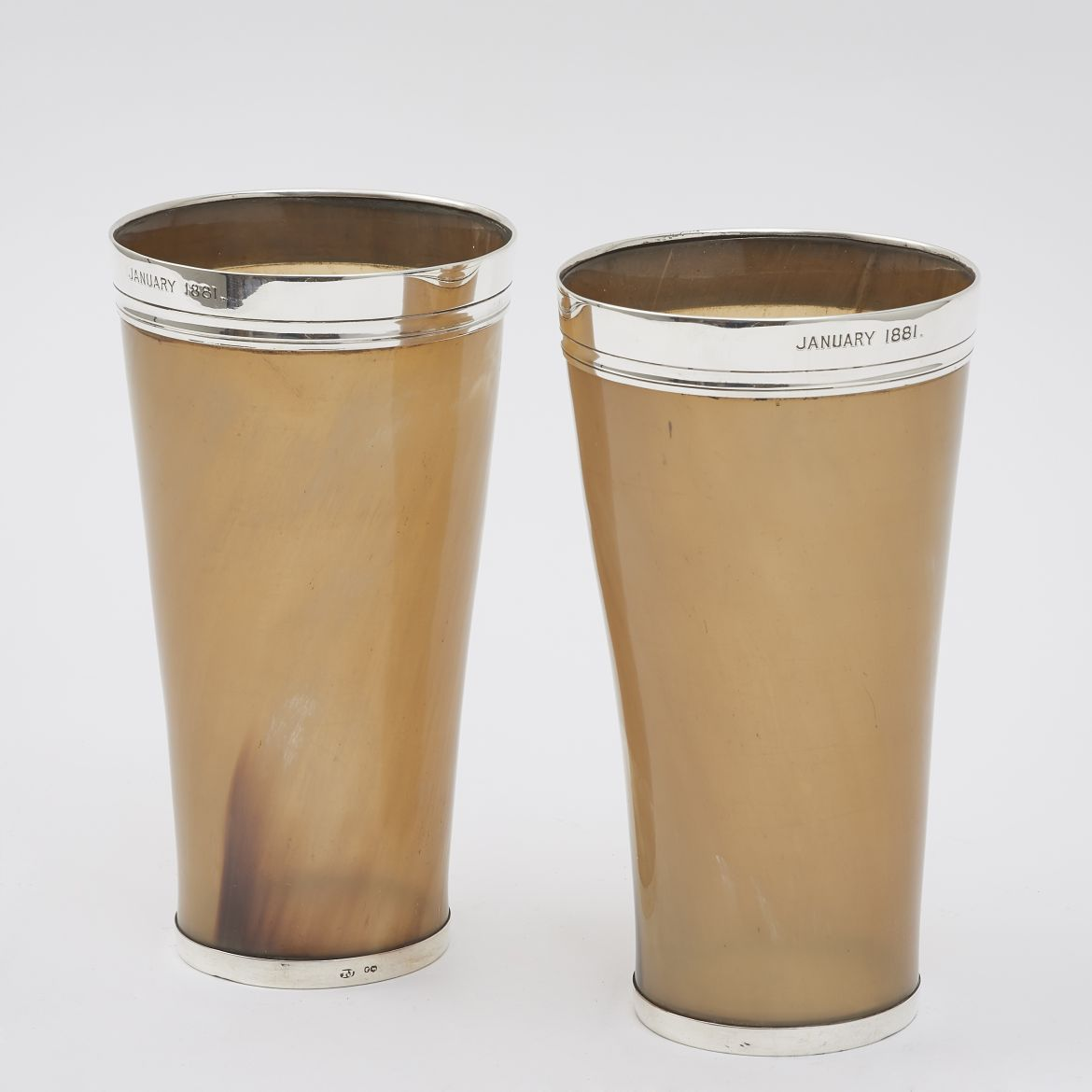 Pair Horn & Silver Mounted Beakers