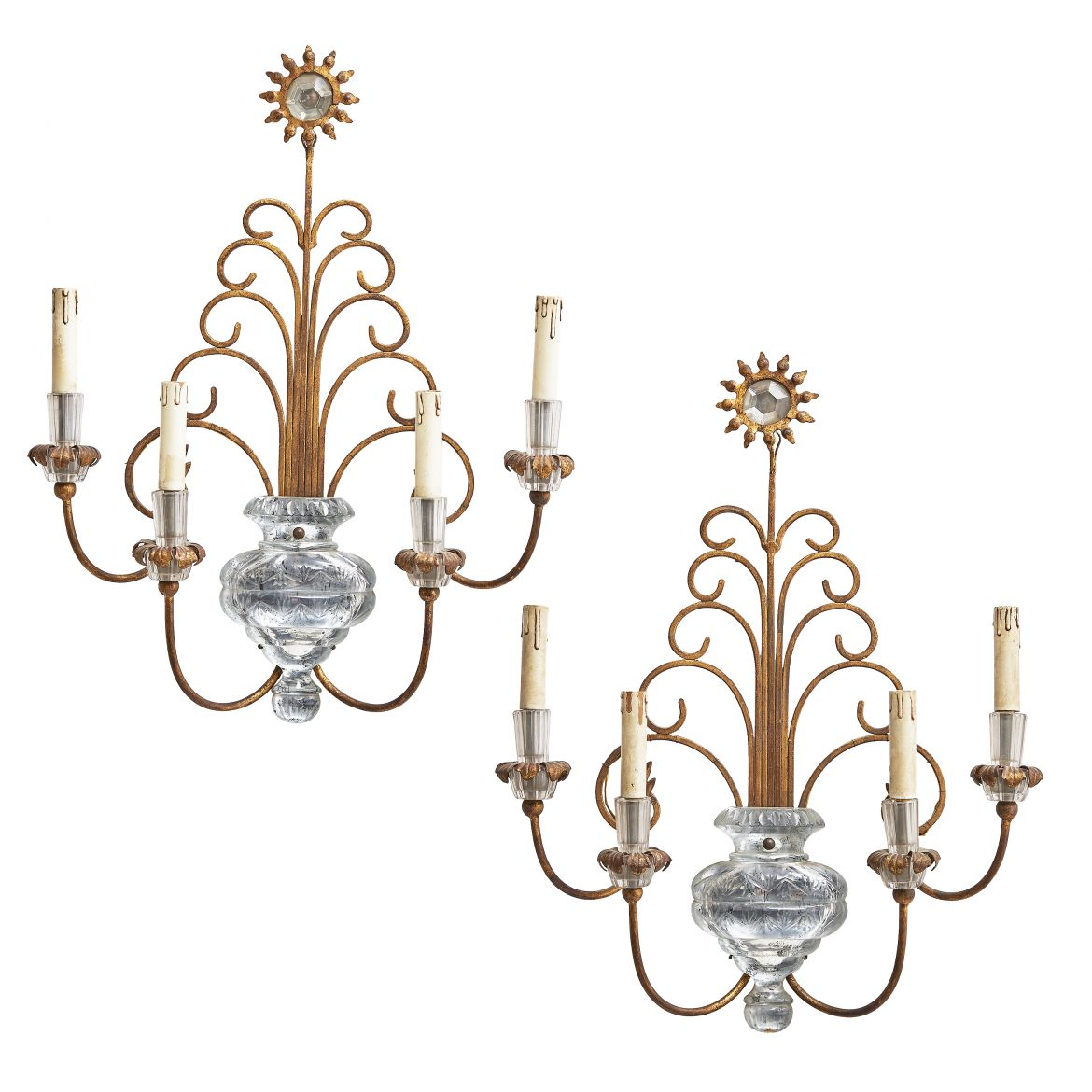 Pair Italian Bagues Style Sconces