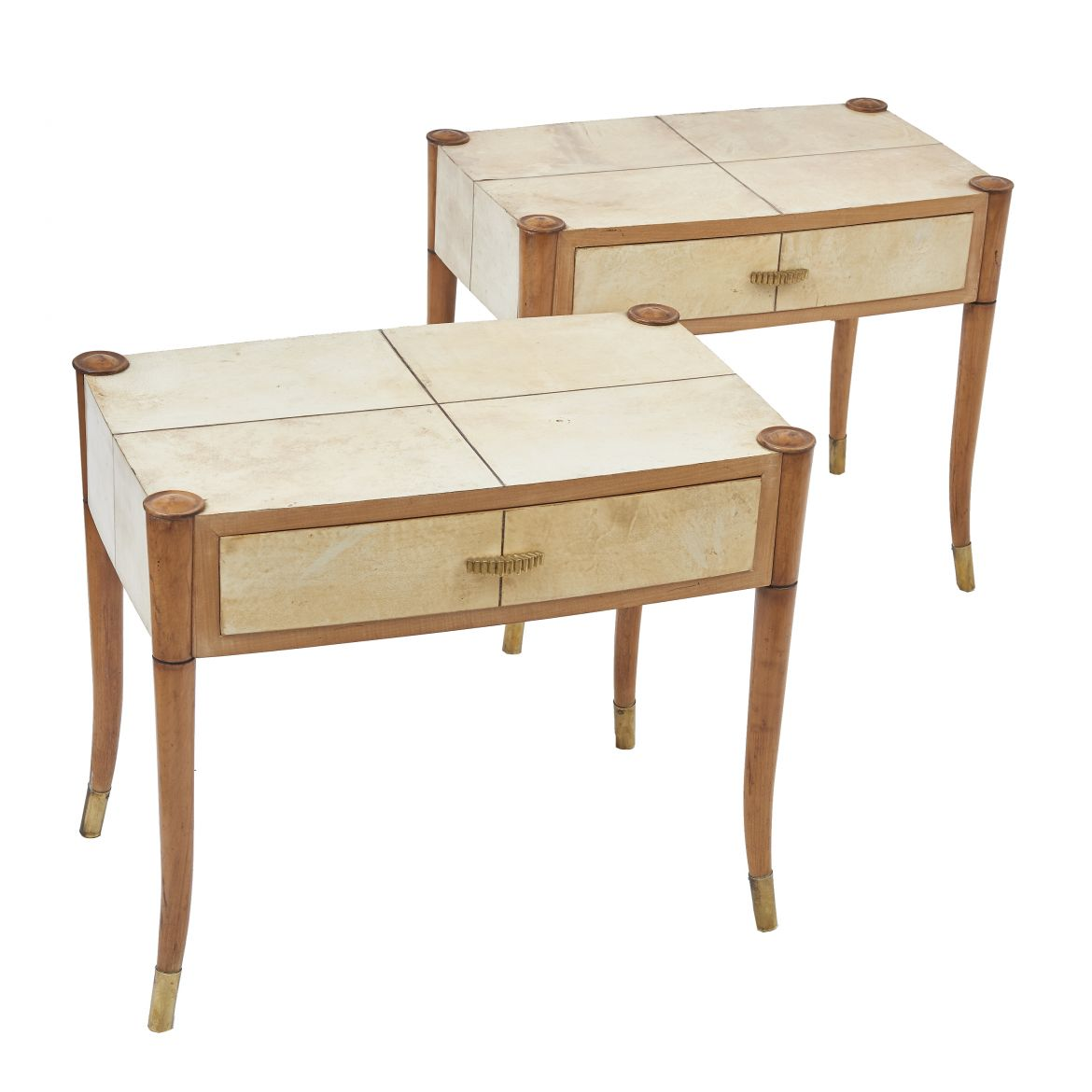 Pair Maple & Vellum Bedside Tables