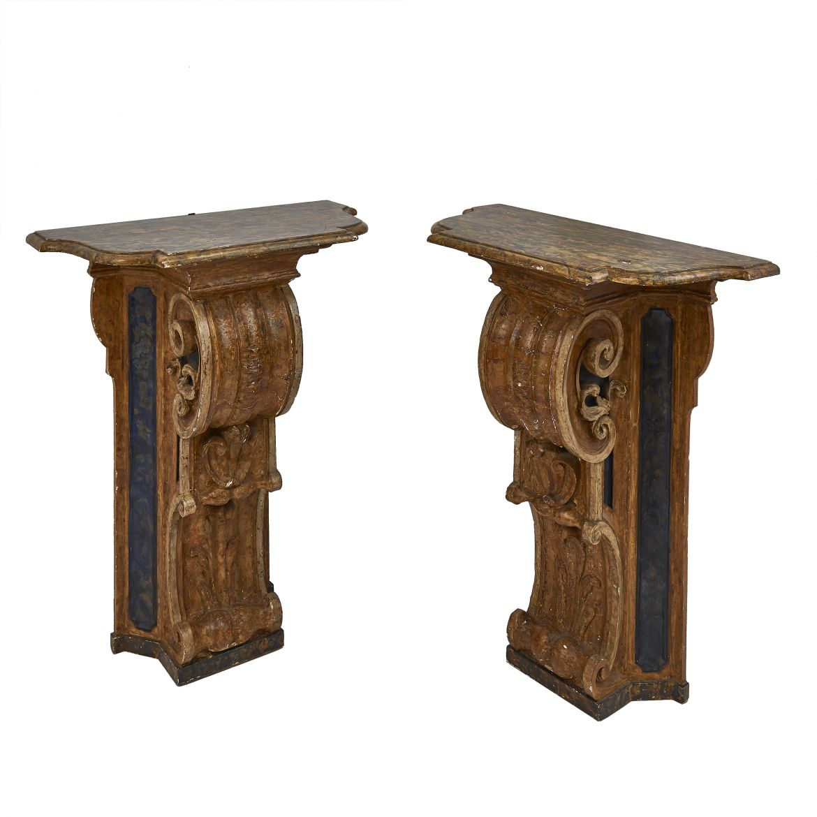 Pair Painted Baroque Consoles