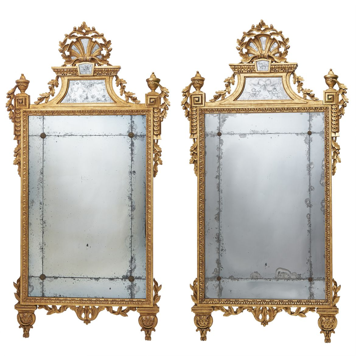 Pair Giltwood Mirrors With Mirrored Crests