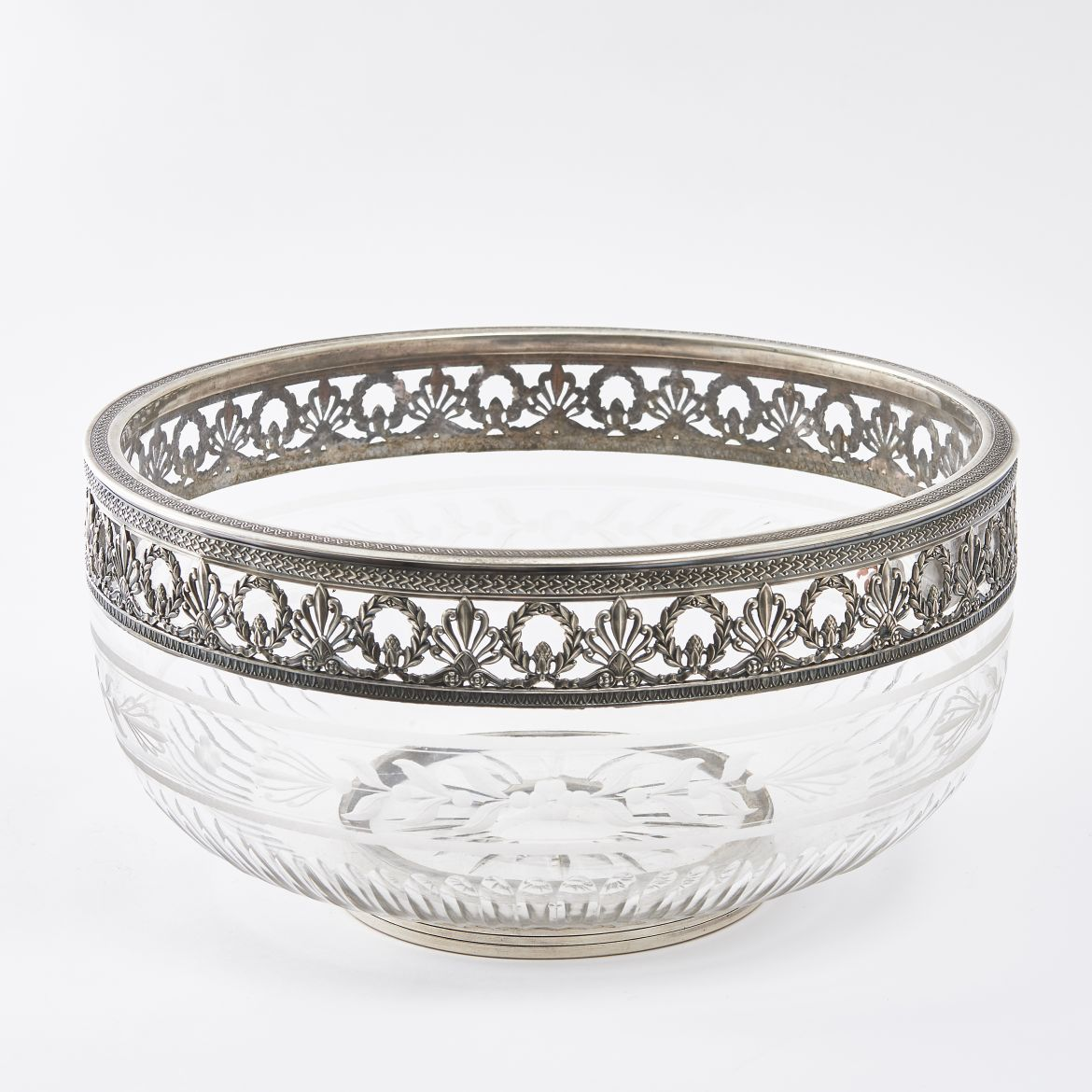 French Cut & Etched Crystal Bowl