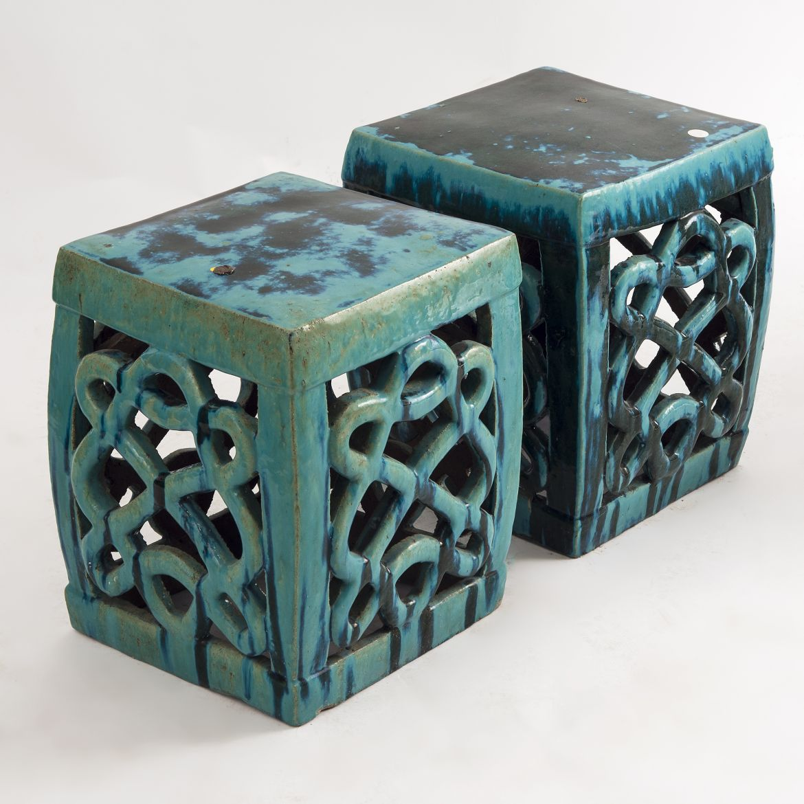 Pair Green Garden Stools