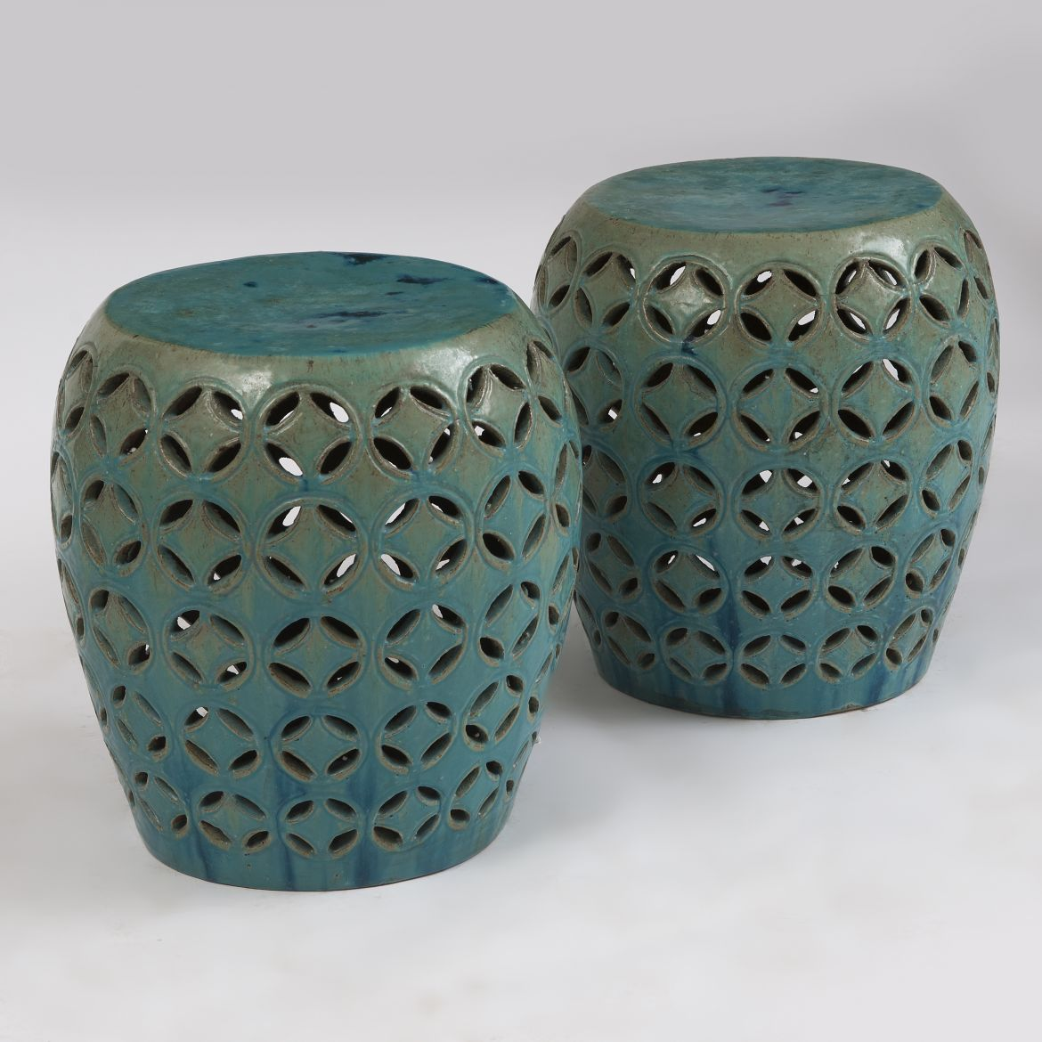 Pair Chinese Pierced Stools