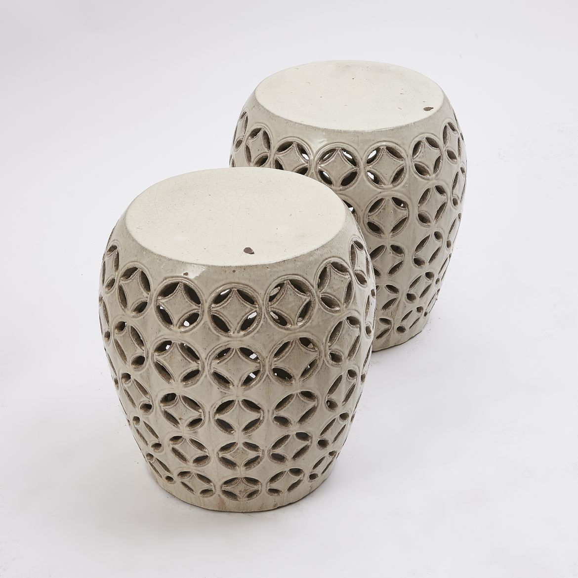 Chinese Lattice Pierced Garden Stools