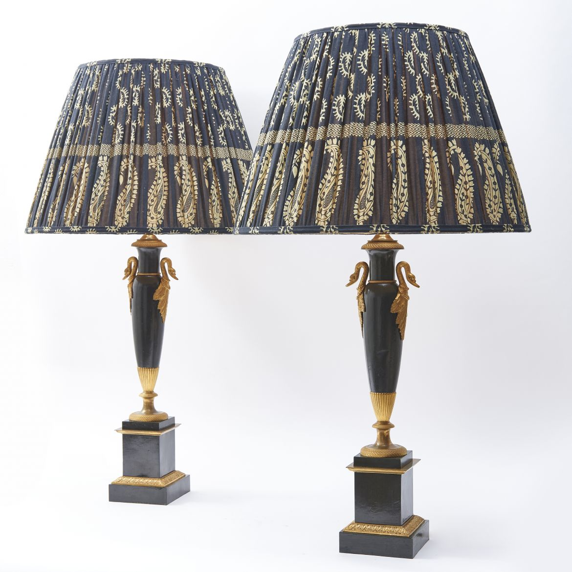 Pair Louis Philippe Tole & Bronze Lamps