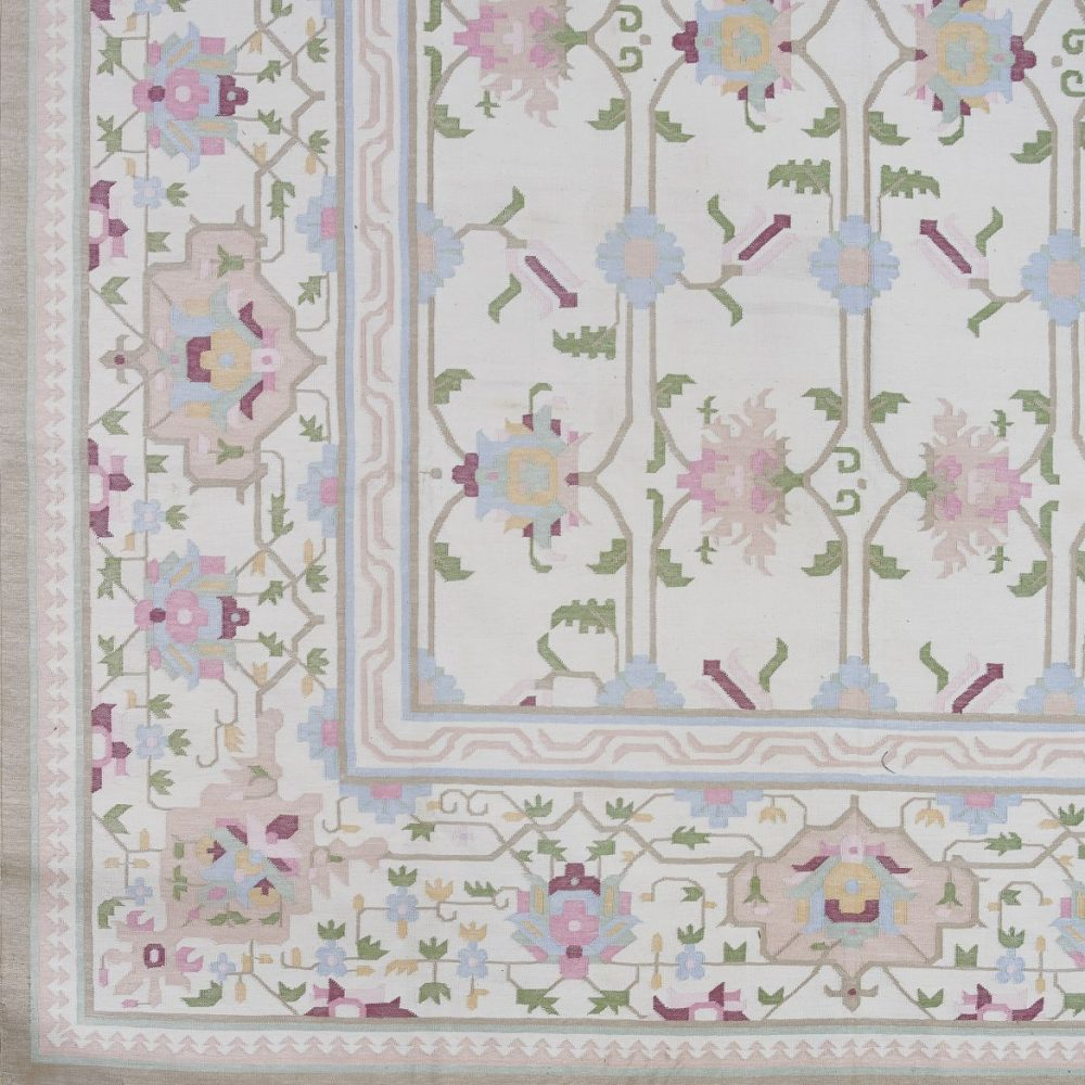 Mid 20th Century Pale Floral Dhurrie