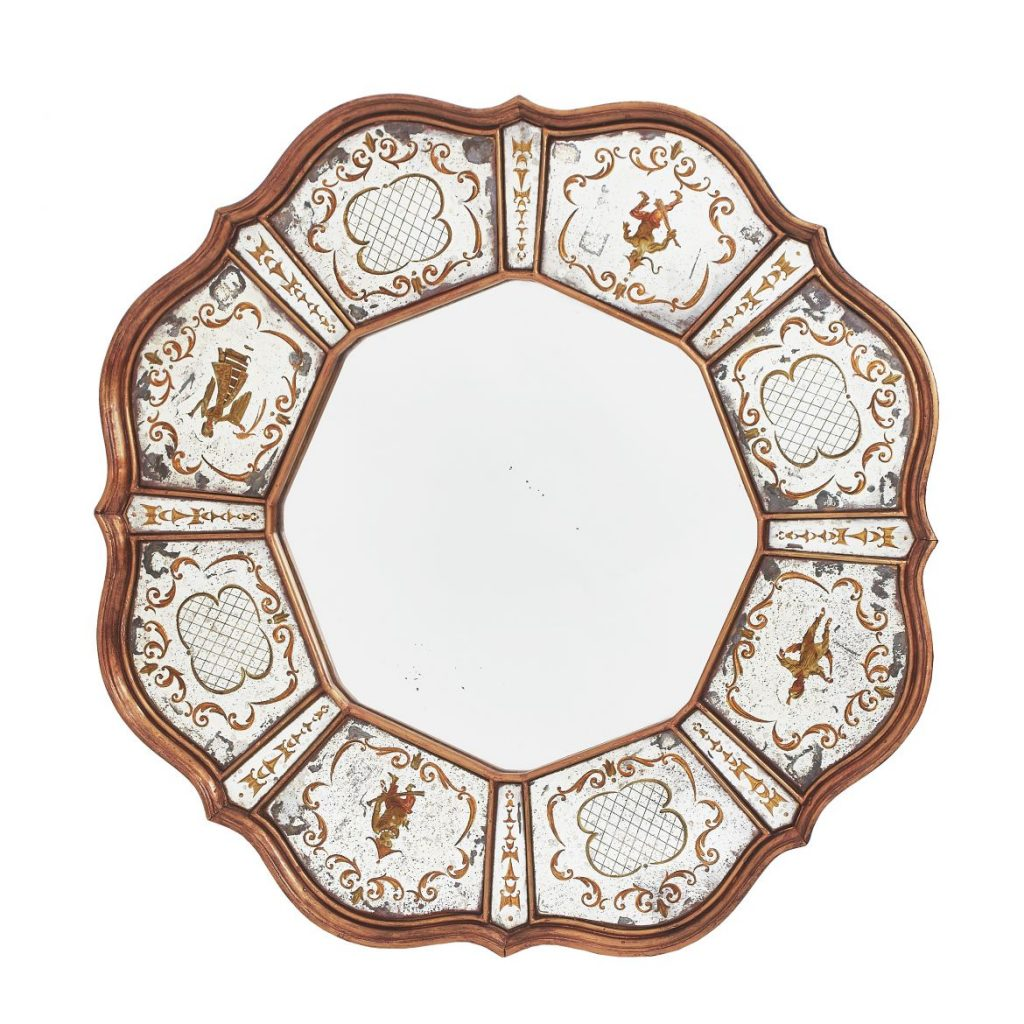Venetian Scalloped Eglomisée Mirror