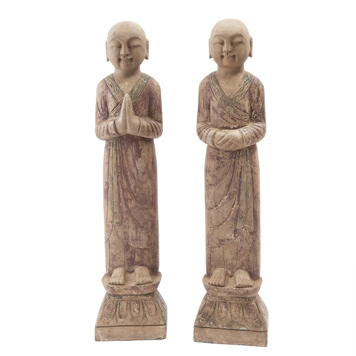 Pair Chinese Stone Monks