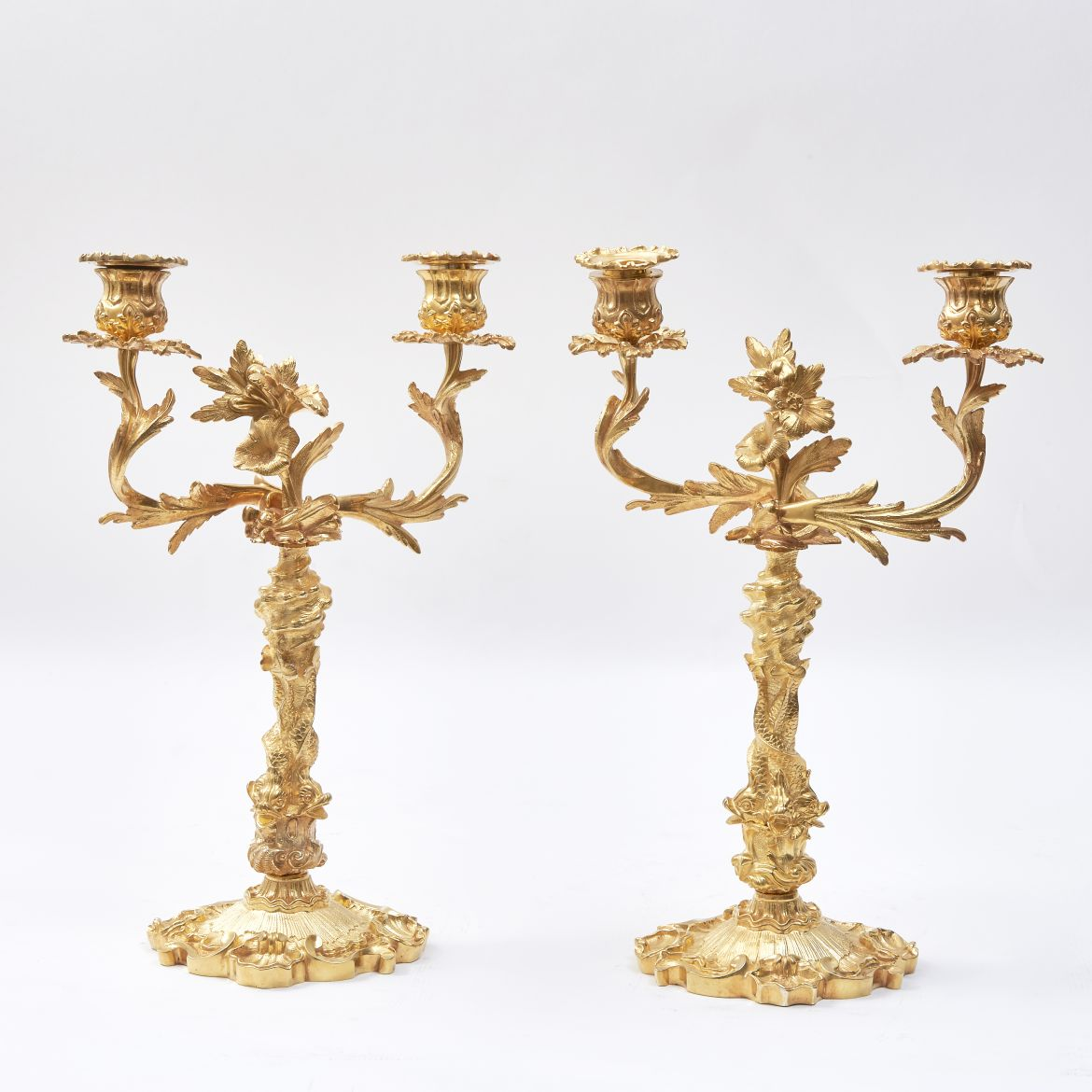 Pair Gilt Bronze Candelabra
