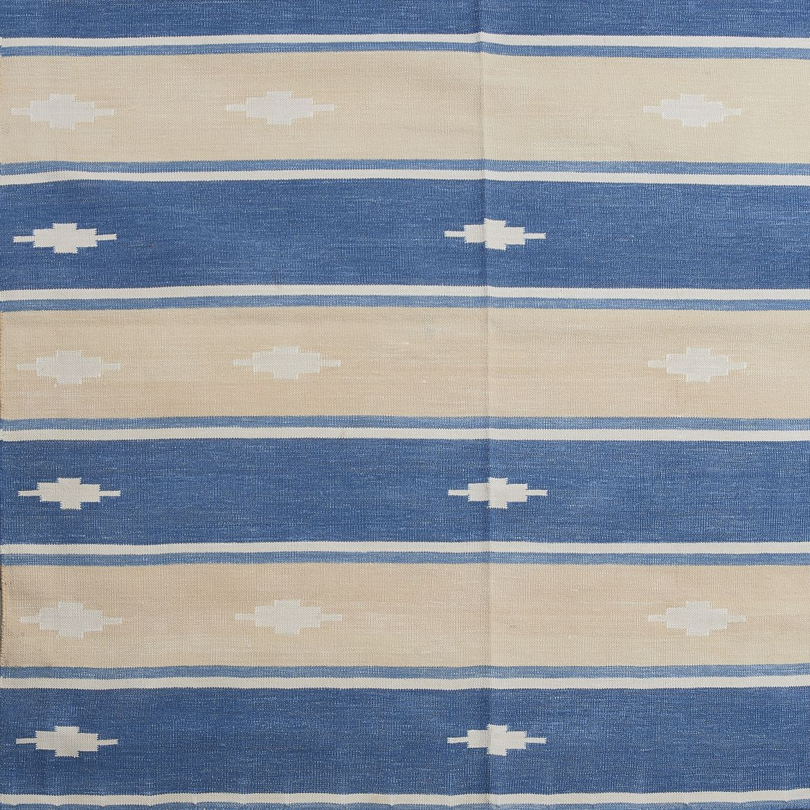 Blue and Cream Stripe Dhurrie