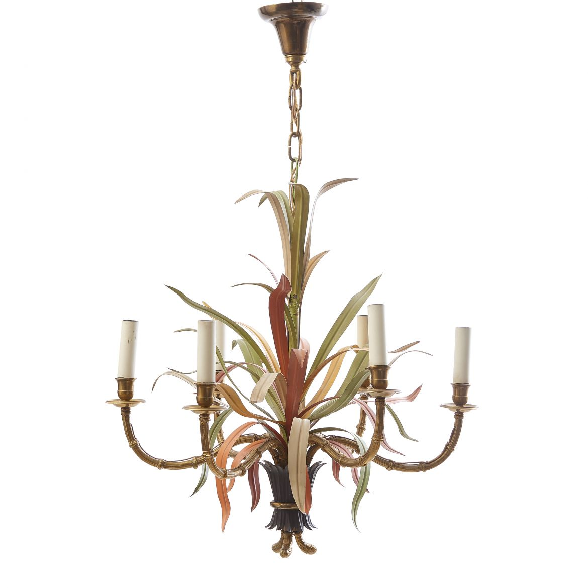 French Painted Tole leaf Chandelier