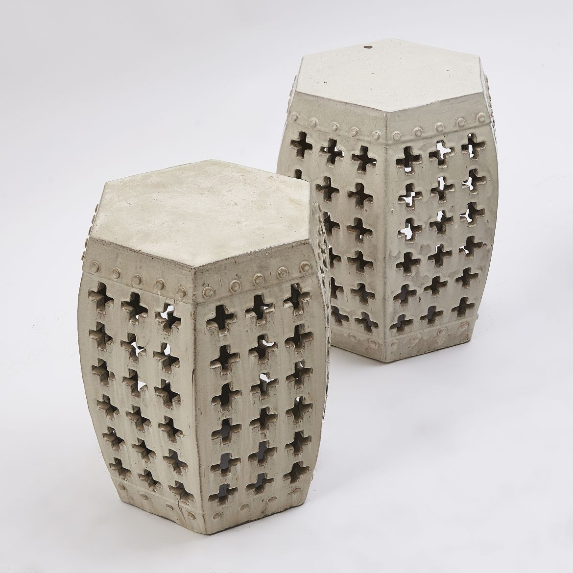 Chinese Cream Glaze Pierced Stools