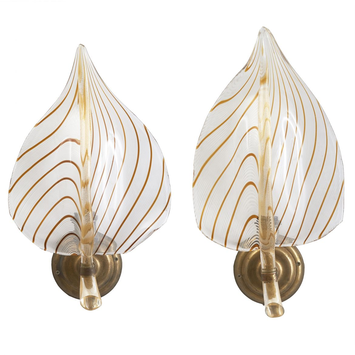 Pair Murano Feather Wall Lights