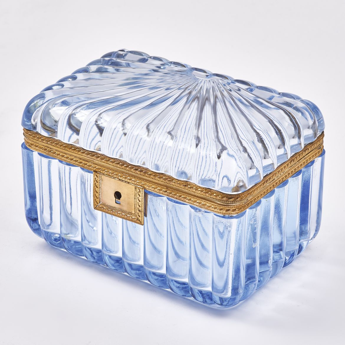 French Blue Pressed Glass box