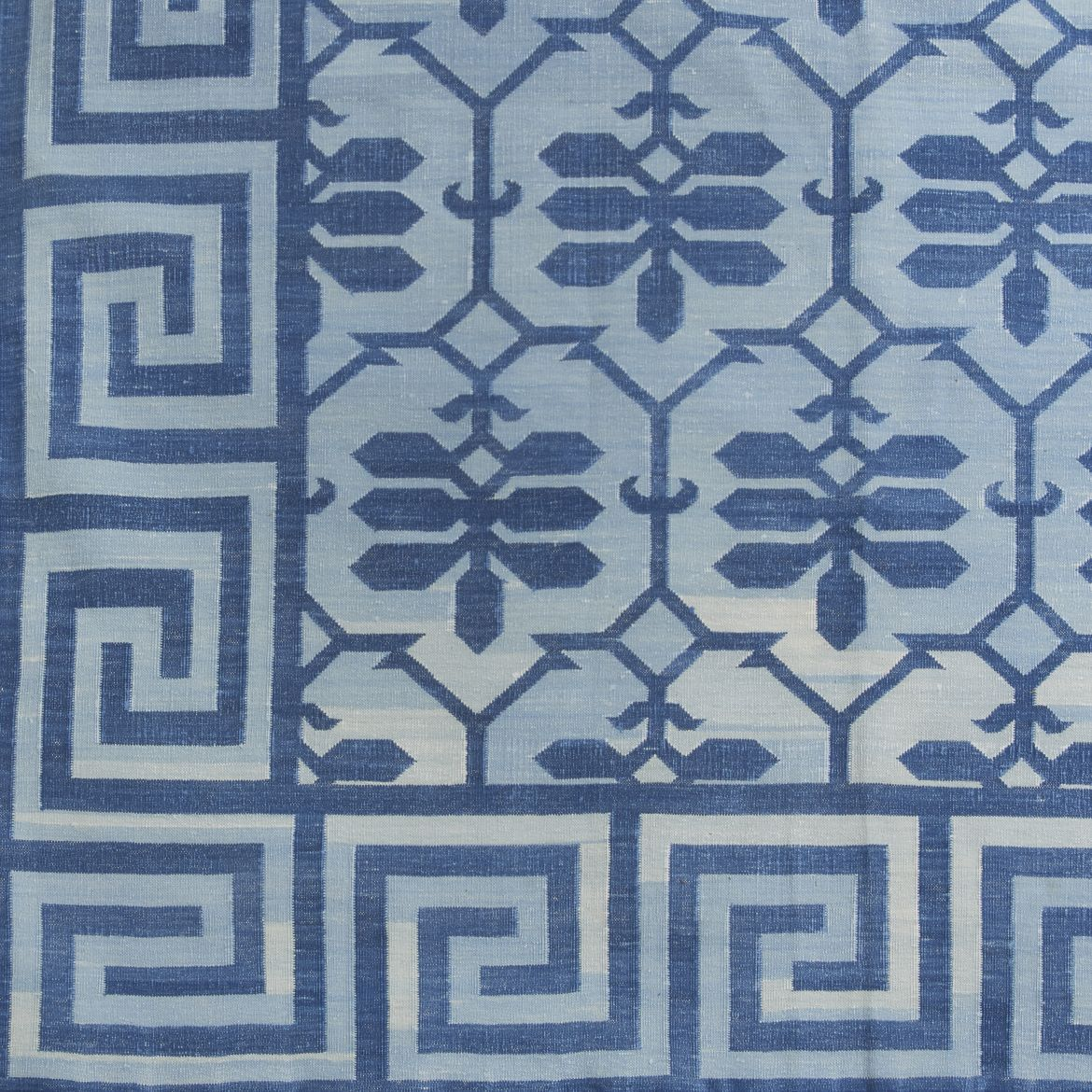 Contemporary Blue Baroda Design Dhurrie