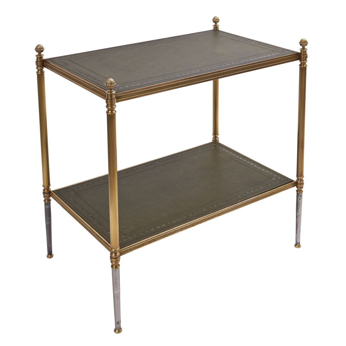 Two Tier Brass & Leather Side Table