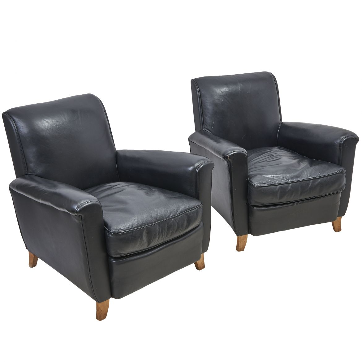Pair French Leather Armchairs