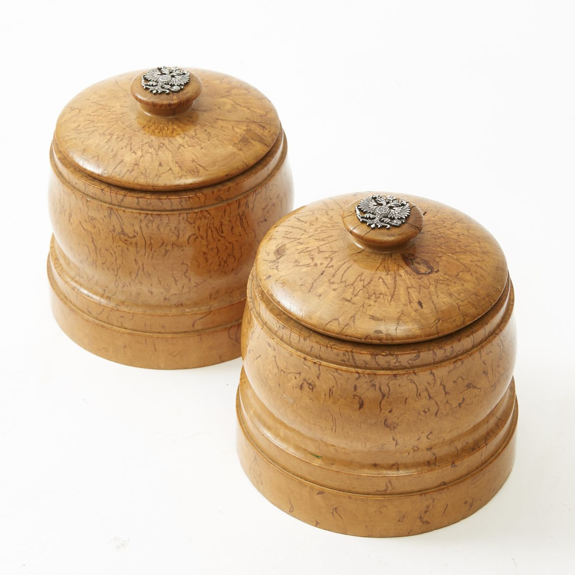 Pair Russian Birch Tobacco Boxes