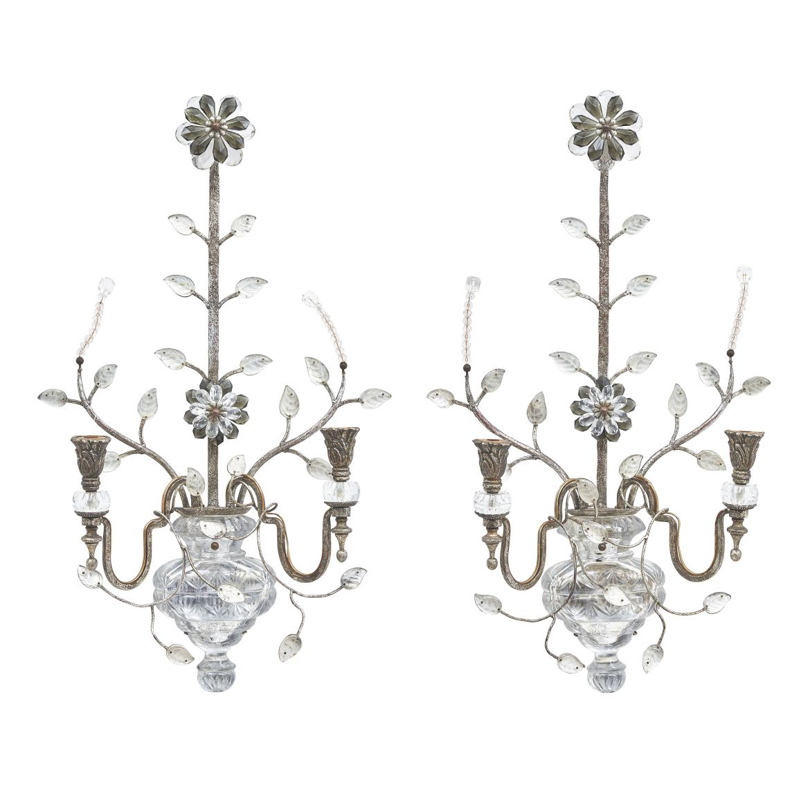 Pair Silvered Banci Sconces