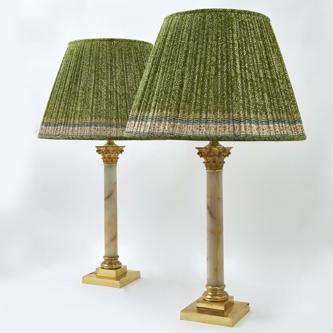 Pair Edwardian Alabaster Lamps