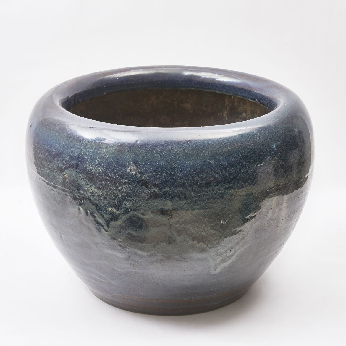 Large Japanese Blue Glaze Hibachi