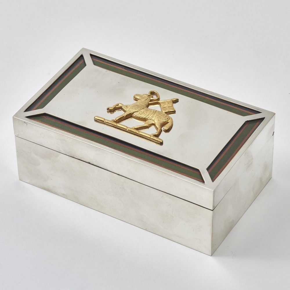 Silver Plate Cigarette Box With Military Colours