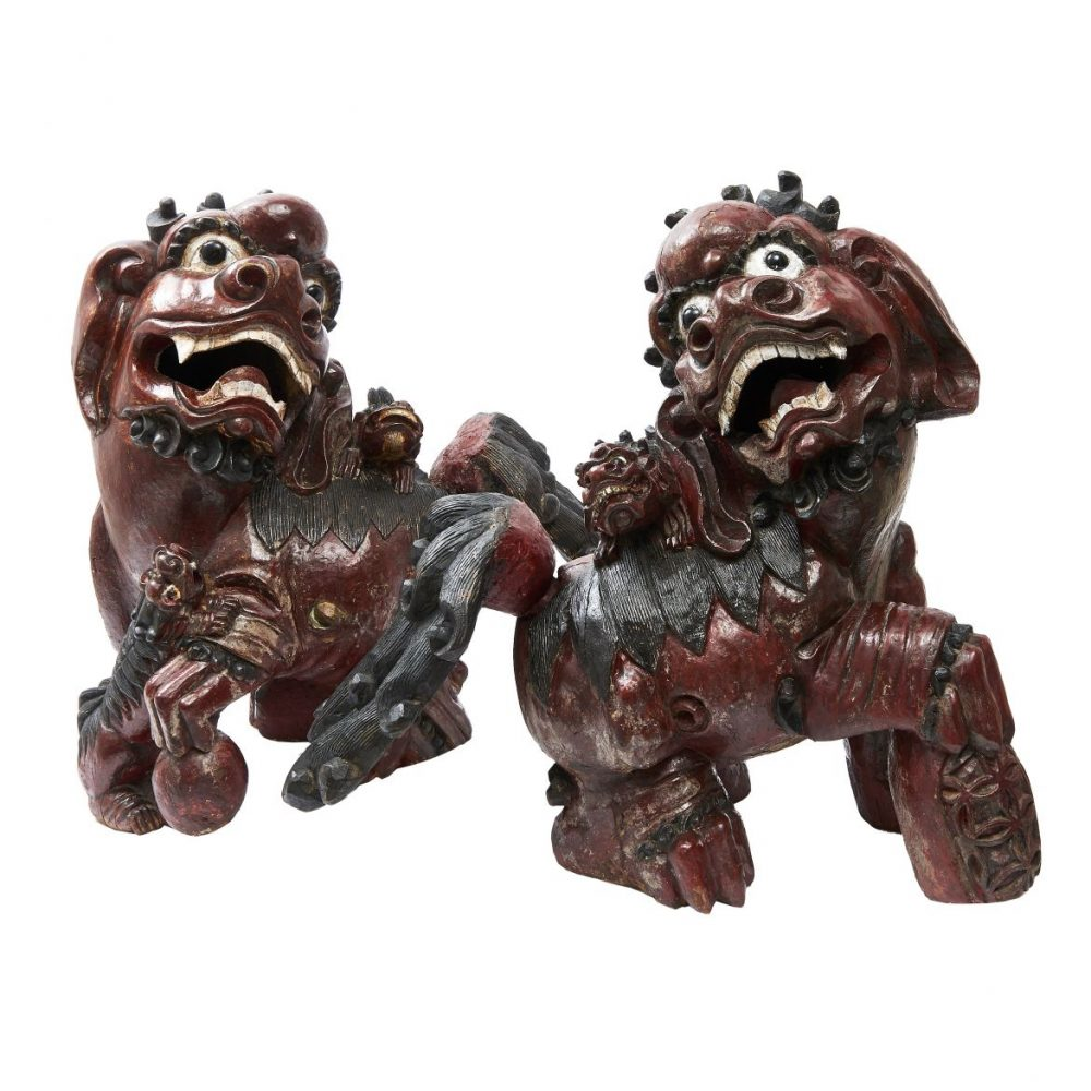 Chinese Carved Foo Dogs
