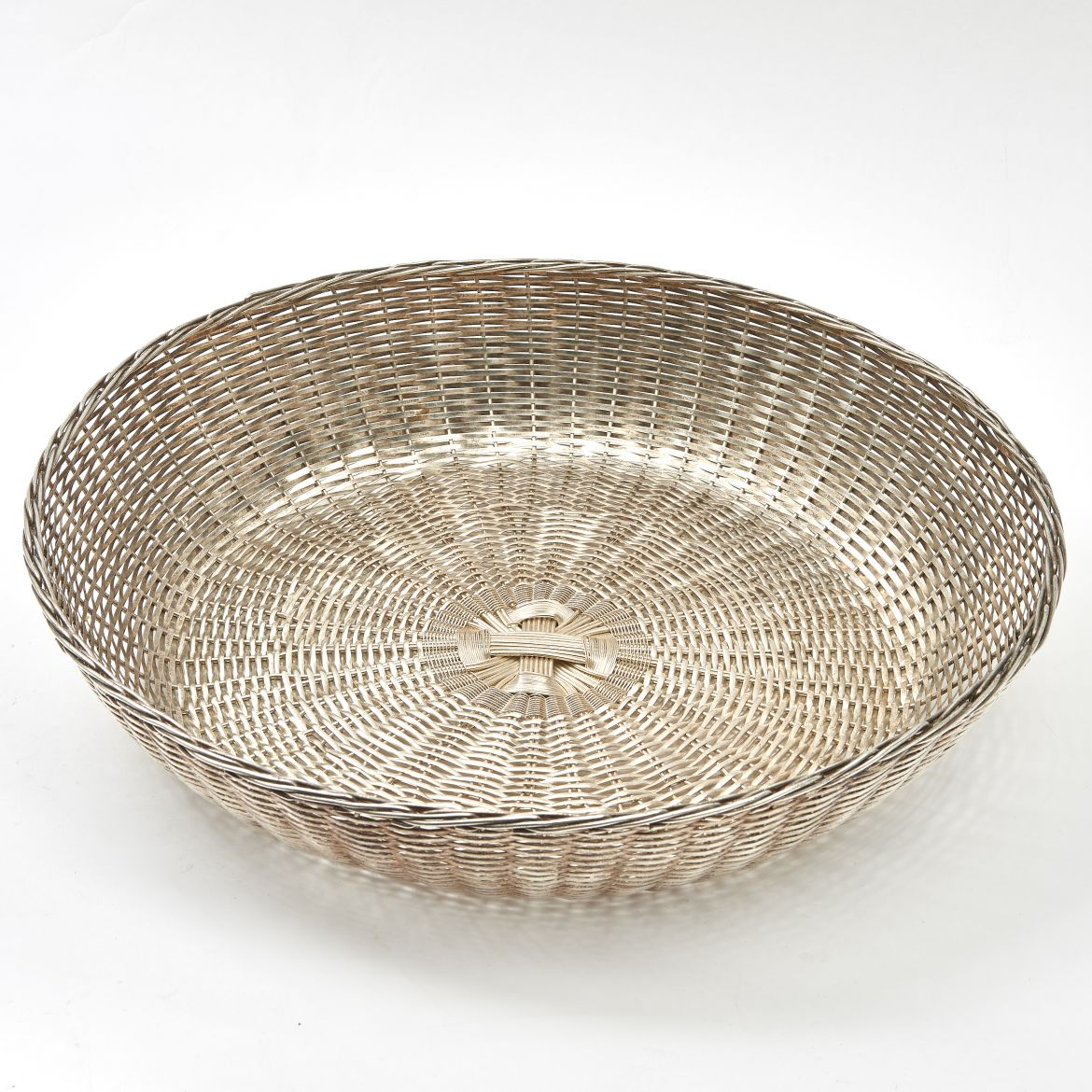 French Woven Silver Plate Basket