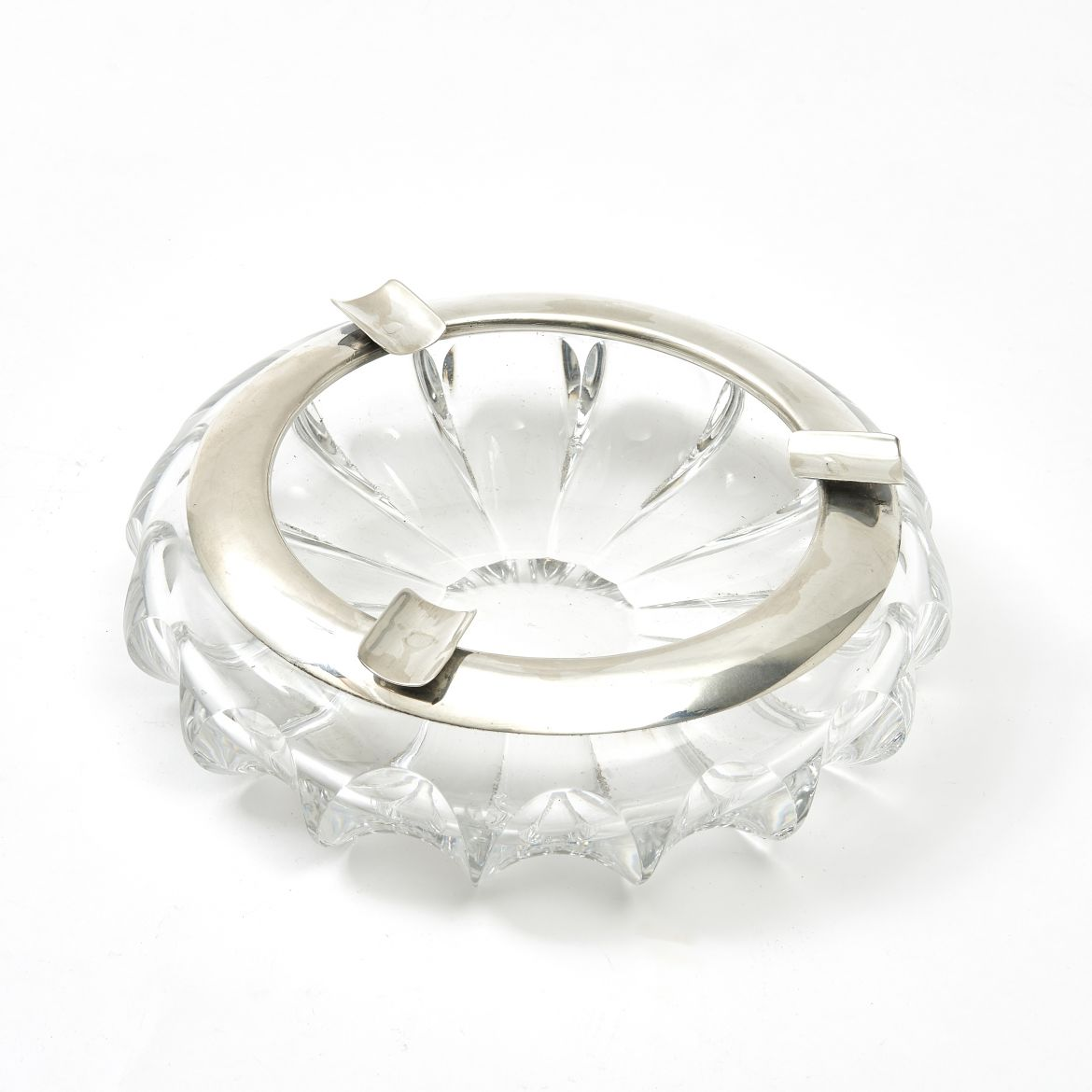 Large German Silver and Crystal Ashtray