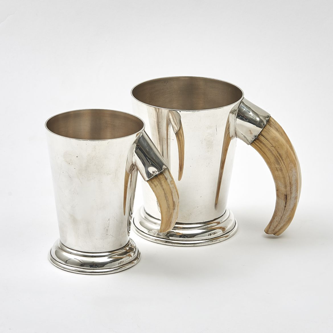 Pair Graduated  Silver Plate Tankards